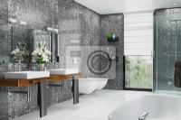 Modernes badezimmer in wei und schwarz mit dusche