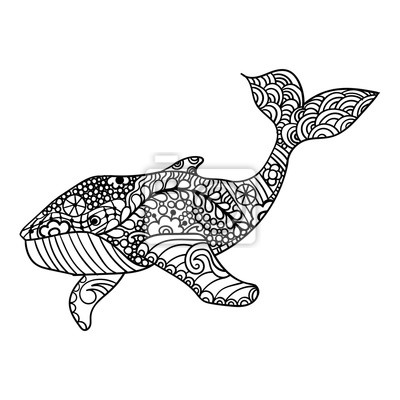 Whale vector zentangle print erwachsenen malvorlage