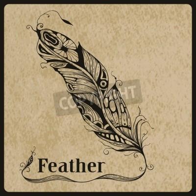 Vector Mano Muy Detallado De La Pluma Del Tatuaje Dibujado En