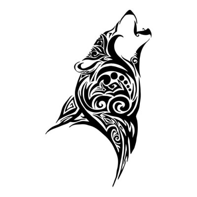 Lobo Cabeza Aullar Diseño Tribal Tatuaje Vector Fotomural