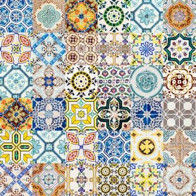 collage de motif de texture de mur en ceramique decorative a images myloview