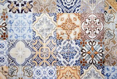 decoration de mur de carreaux de ceramique vintage colore fond images myloview