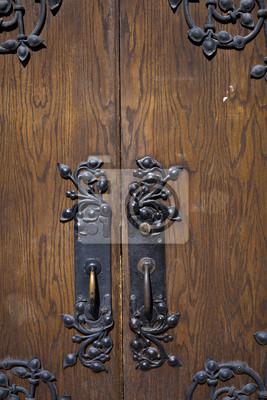 laiton peint poignees de porte ancienne en bois images myloview