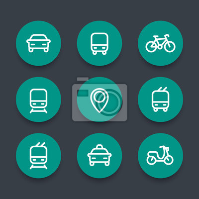 ville public transports rond vert icones public transport images myloview