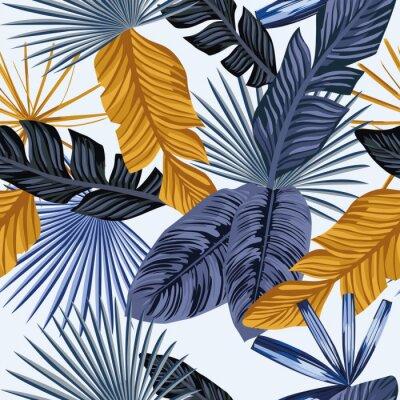 papiers peints feuilles de palmier en or bleu fond blanc transparent