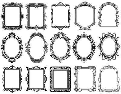 papiers peints rond ovale rectangulaire victorien baroque vecteur cadres