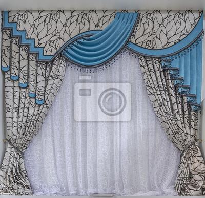 sticker rideaux turquoise avec lambrequins