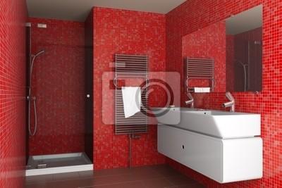 Una vasta selezione di prodotti ai migliori prezzi. Bagno Moderno Con Tessere Di Mosaico Rosso Sulla Parete Carta Da Parati Carte Da Parati Interni Asciugamano Lavello Myloview It