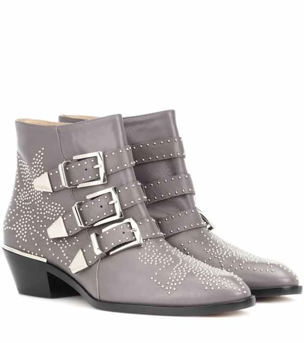 Chlo Chloe' Grey Leather Ankle Boots Modesens