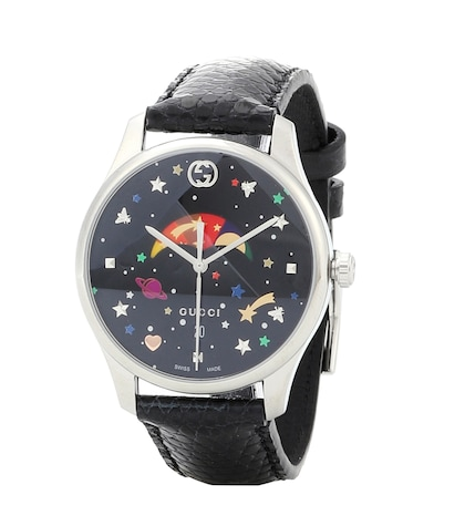G-Timeless stainless steel leather watch