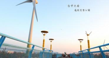 「台中大安景點」大安龜殼生態公園 大安超冷門景點海濱港城小鎮。追海邊大風車美景+觀賞夕陽好去處。