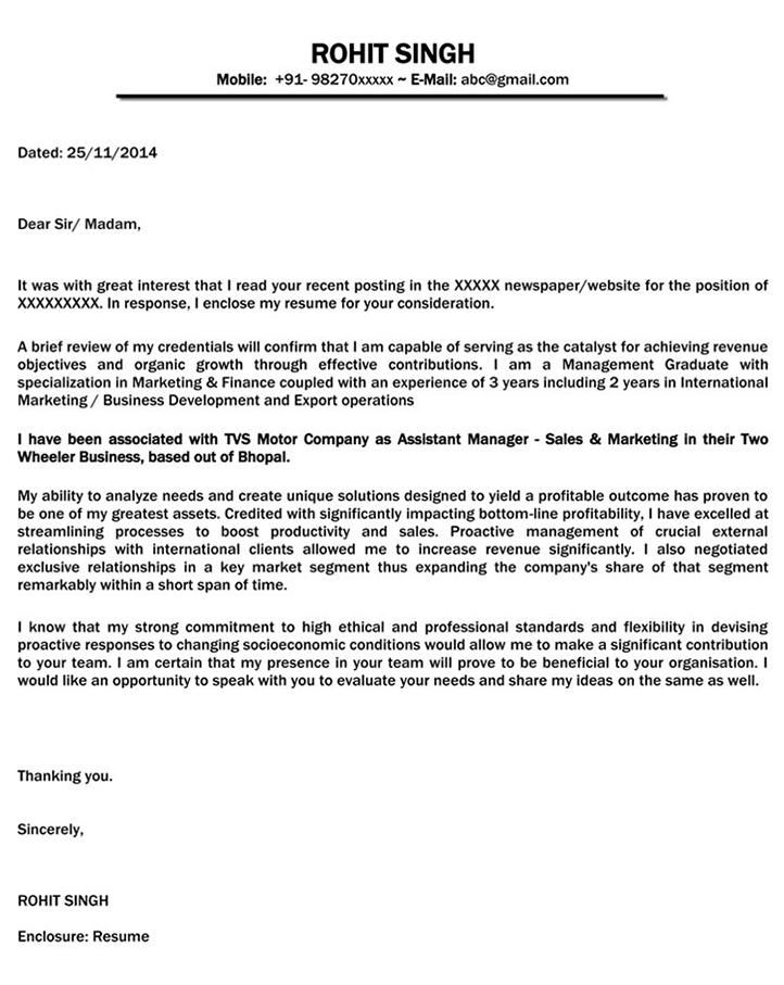 Cover Letter For International Sales Position