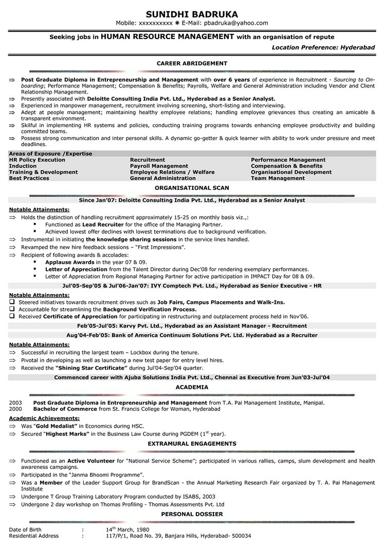 HR Resume Format HR Sample Resume HR CV Samples – Naukri Com