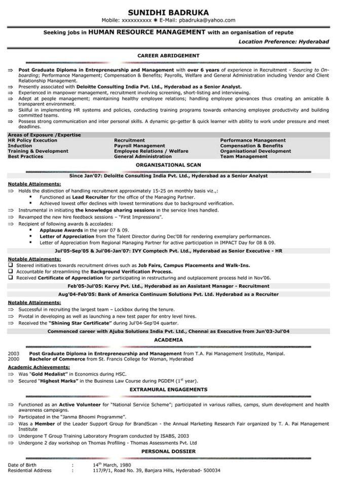 Hr Resume Format Sample