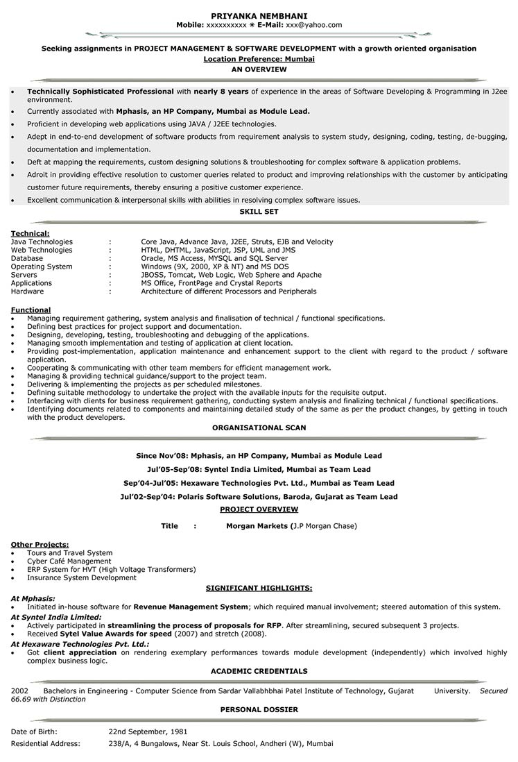 Software Professional Resume Samples It Resume Format Resume Samples For It It Cv Format Naukri