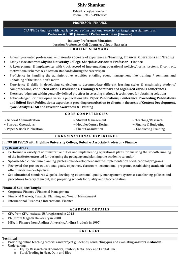 resume samples for lecturer post