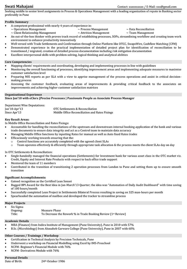 Business Management Resume Examples Operations Resume Samples Resume Format For Operations
