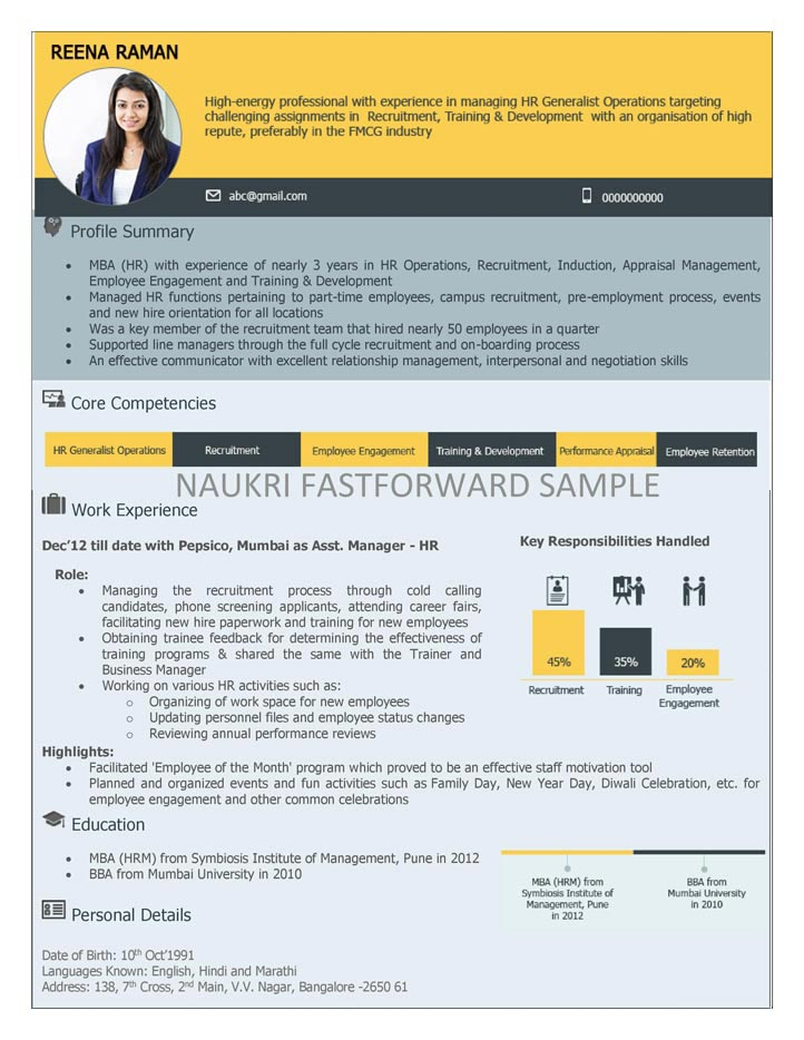 Visual Resume Samples Visual CV Visual Curriculum Vitae Format