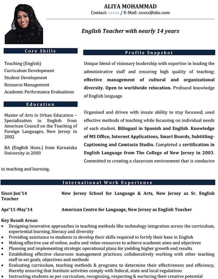 English Teacher CV Format – English Teacher Resume Sample And Template