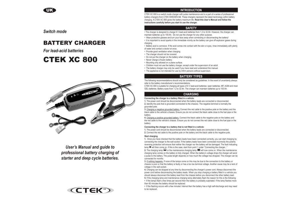 medium resolution of ctek xc 800 1 2 pages