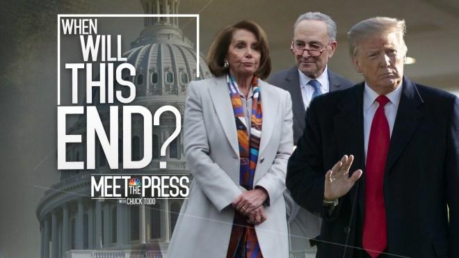 Meet the Press: 1-13-19 When Will this end? teaser plackard