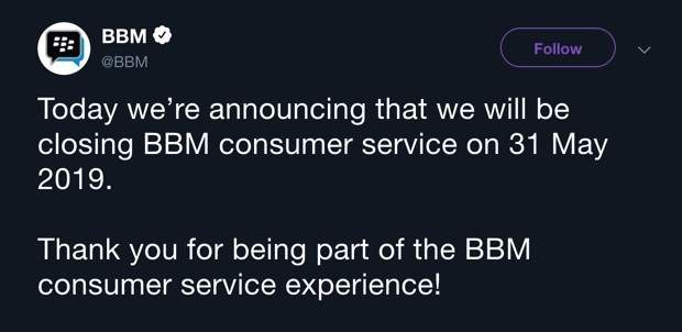 A tweet from the official BBM handle