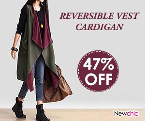 Autumn Sleeveless Reversible Long Vest Cardigan