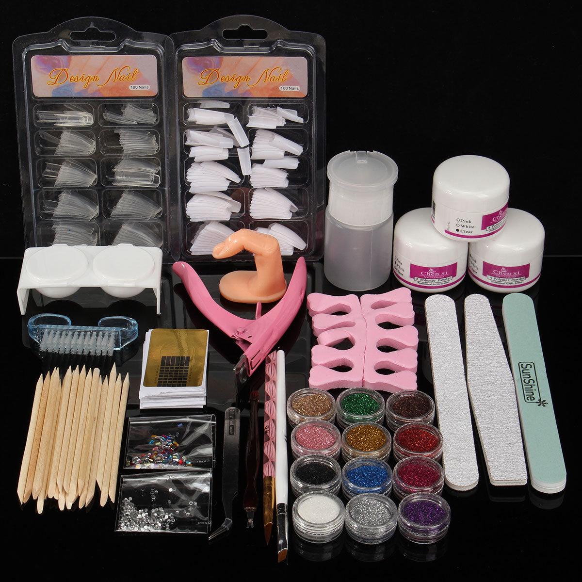 Acrylic Powder Glitter Nail Art Tools Kit Nails Brush False Finger Pump Set