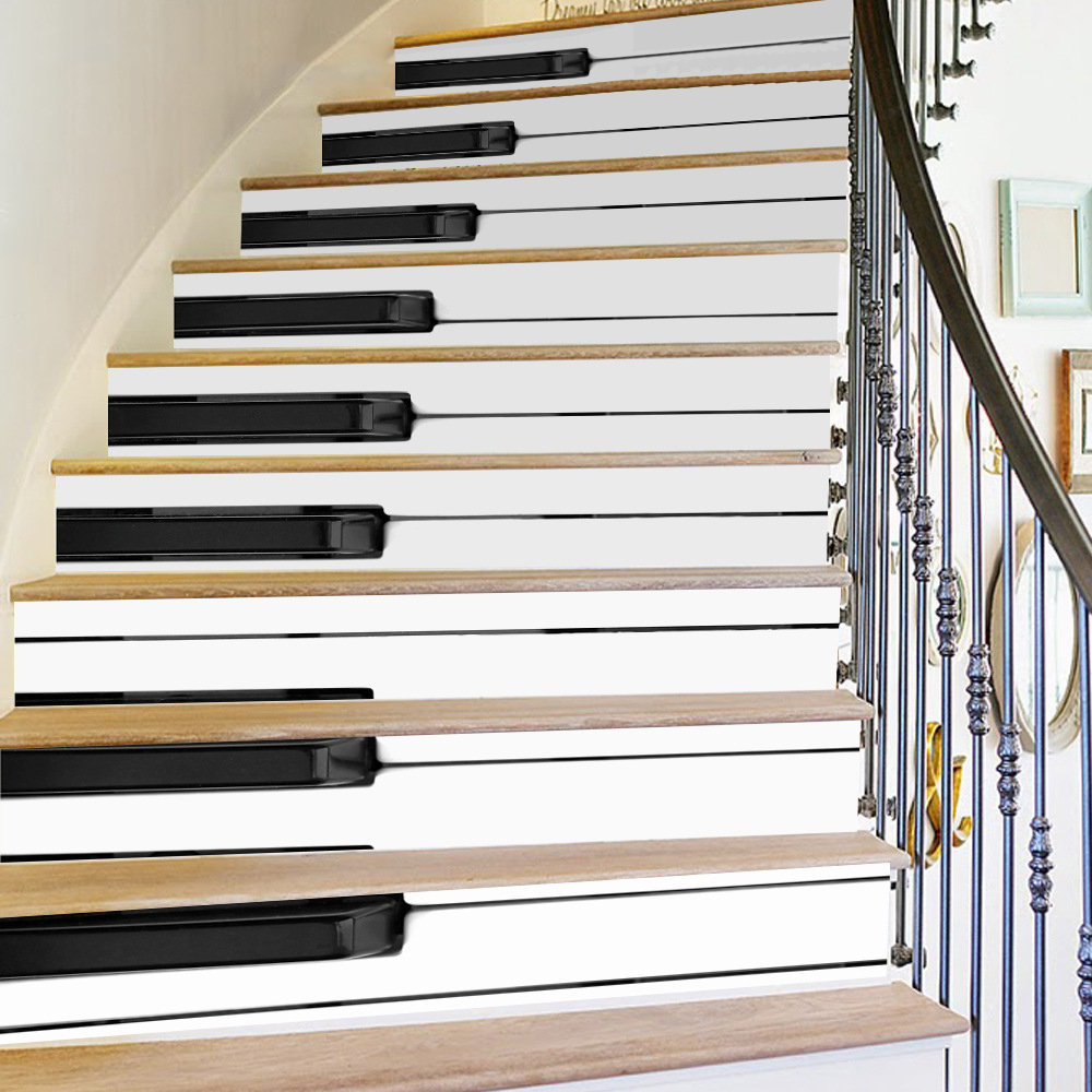 Creative 6Pcs 3D DIY Wall Sticker Stair Paino Vinyl Art