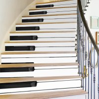 Creative 6Pcs 3D DIY Wall Sticker Stair Paino Vinyl Art