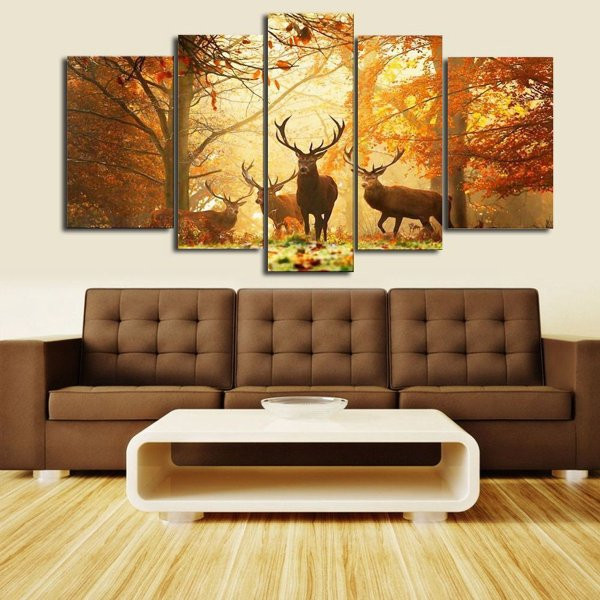 5pcs Unframed Forest Deer Modern Abstract Wall Art Print