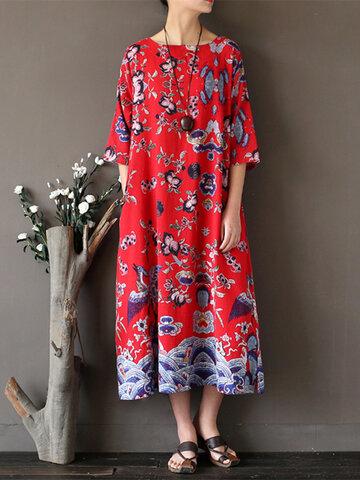 Women Ethnic Printed Half Sleeve Vintage Maxi Dresses