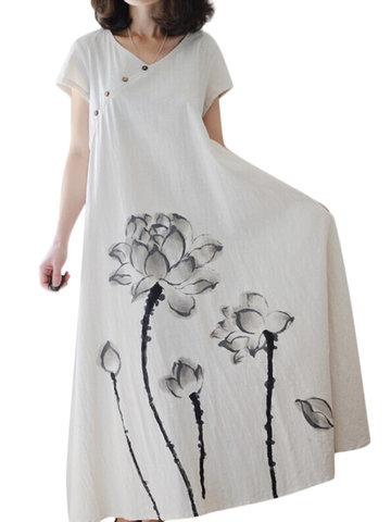 Vintage Ink Printed Short Sleeve V-Neck Long Maxi Dresses