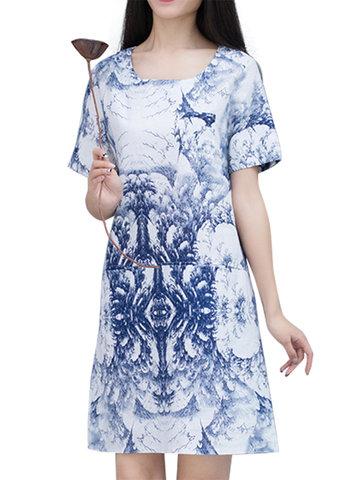 Vintage Printed O-Neck Short Sleeve Pocket Dress For Women