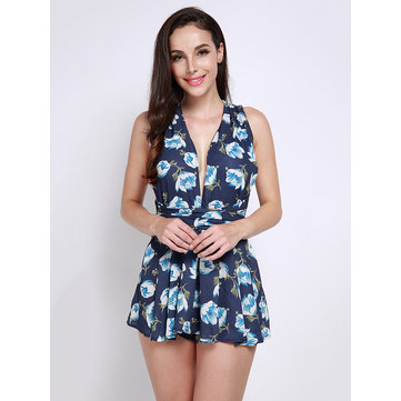 Women Floral Print Backless Varied Collar Jumpsuit