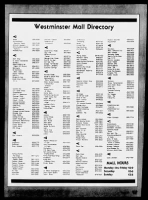 Westminster Mall Directory : westminster, directory, Angeles, Times, Angeles,, California