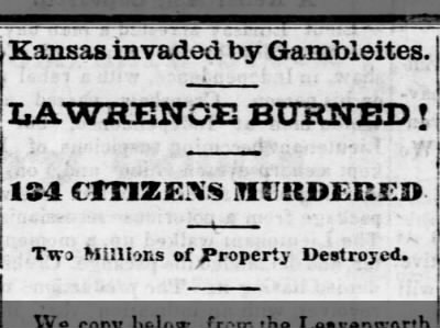 Lawrence Massacre Headline