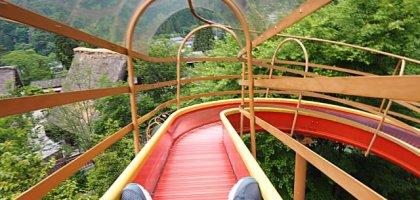 日本、下呂溫泉|走進合掌村?不!現在流行從175公尺高的溜滑梯快速滑進童話世界!
