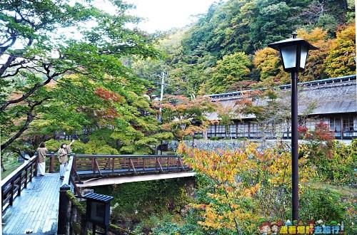 花卷住宿|大澤溫泉菊水館.在紅葉圍繞的百年茅草屋聽著水車轉動流水泡裸湯