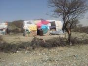 Provisorische Unterkunft einer Familie an der Grenze zu Äthiopien.(Bild: David Signer)