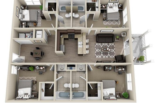Layout Four Bedroom