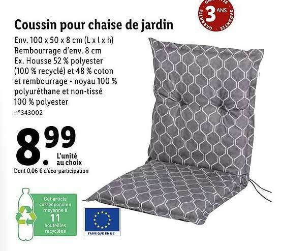 promo coussin pour chaise de jardin
