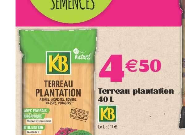 promo terreau plantation 40 l kb chez e