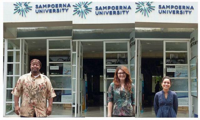 Tiga mahasiswa Lone Star College, AS, menjalani pertukaran pelajar di Sampoerna University. (Foto: Afriani S/Okezone)