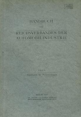 Autotypenbücher 1935 Typentafeln des Reichverbandes der