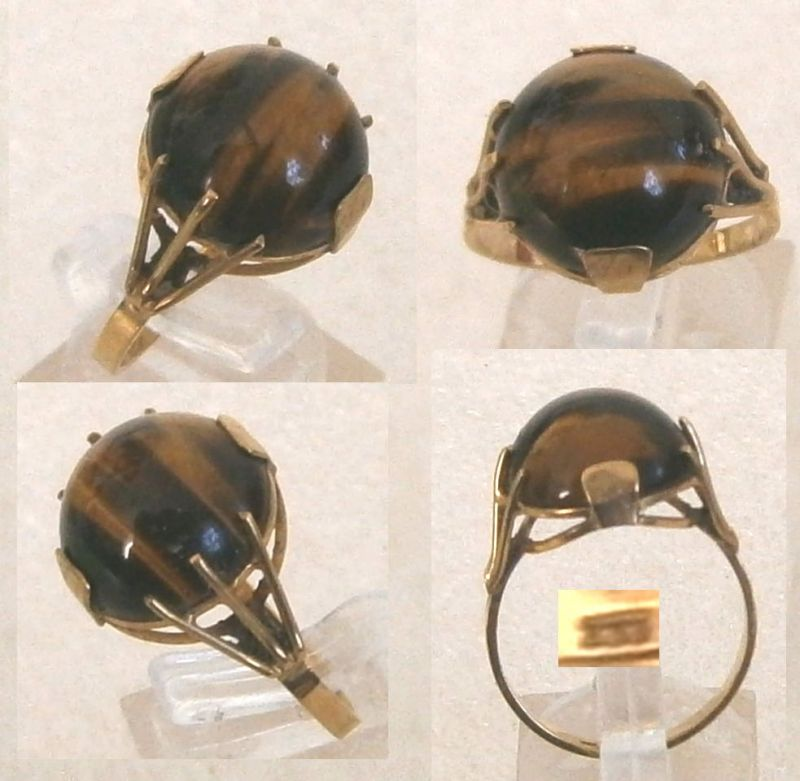 Exklusiver Alter Ring Gr 59 Aus 333 Gold Mit Tigerauge
