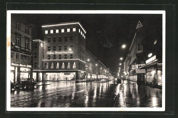 AK Mannheim Caf  Konditorei Kossenhaschen in der PlankenStrasse bei Nacht Nr 8278431