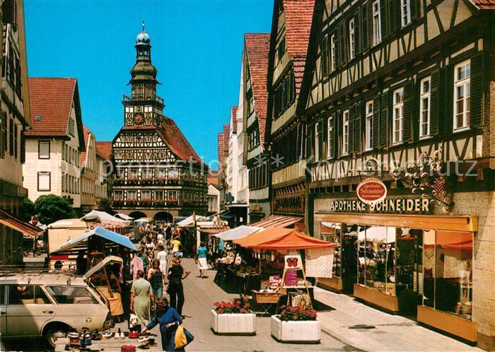 Ansichtskarte Kirchheim unter Teck Markt Rathaus Apotheke 1985 Nr 143548  oldthing