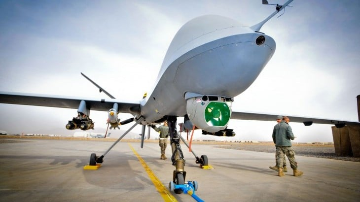 Image shows an autonomous military drone, which is able to act on its own in attacks in conflict zones