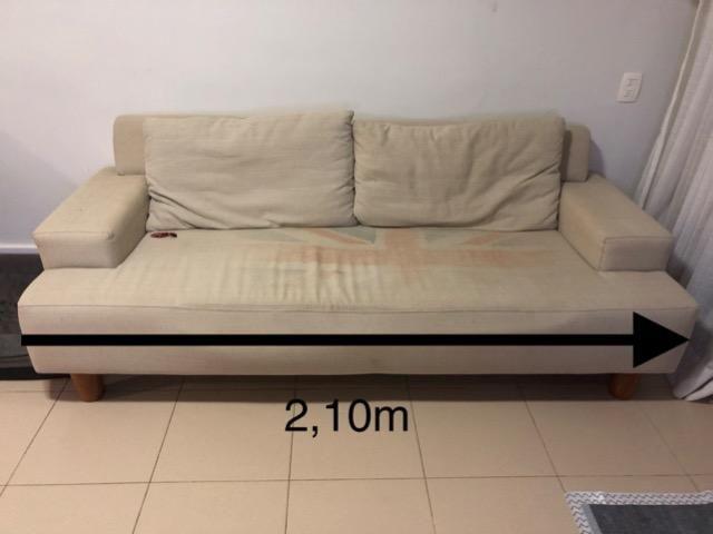 sofa usado olx rio de janeiro transitional style table em tecido bege otimo estado moveis barra da